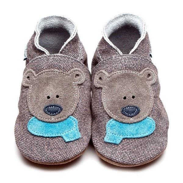 Inch Blue Babyschuhe Bär Grau