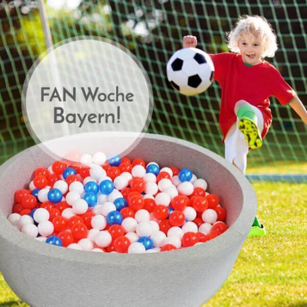 Meinbällebad rundes Fanbällebad Bayern Hellgrau mit 300 Bällen