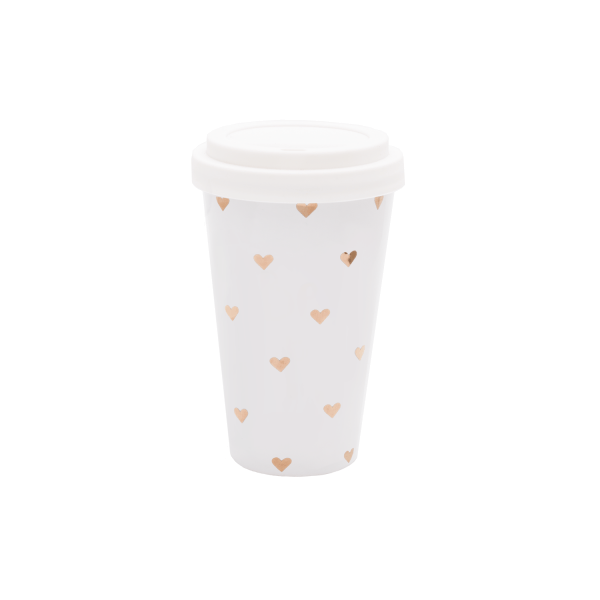 "Eulenschnitt Coffee-To-Go Becher ""Herzchen"" Gold"