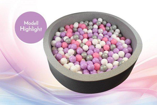 Meinbällebad rundes Bällebad Highlight Grau mit 300 Bällen