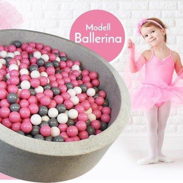 Meinbällebad rundes Bällebad Ballerina Grau mit 300 Bällen