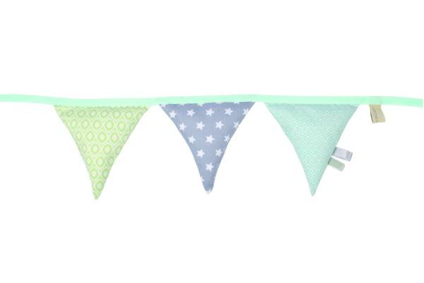 Lottas Lable Babyschalen-Kinderwagen-Kette Wimpel Mint