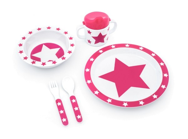 Pimpalou Geschirrset 5-teilig Melamin Stars Pink