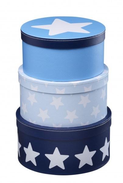Kid's Concept Pappboxen rund 3-Set, Star Blau