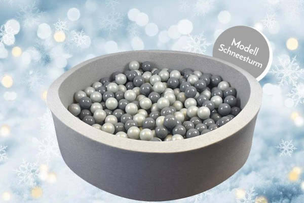 Meinbällebad rundes Bällebad Schneesturm Grau mit 300 Bällen