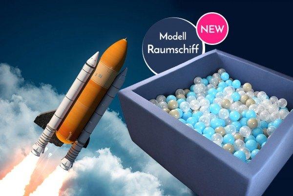 Meinbällebad eckiges Bällebad Raumschiff Blau mit 300 Bällen