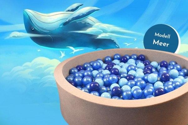 Meinbällebad rundes Bällebad Meer Grau mit 300 Bällen