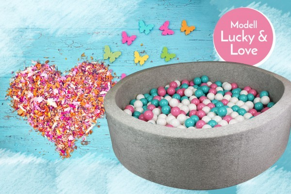Meinbällebad rundes Bällebad Lucky & Love Grau mit 300 Bällen