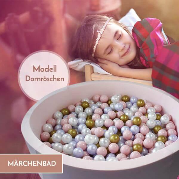 Meinbällebad rundes Bällebad Dornröschen Rosa mit 300 Bällen