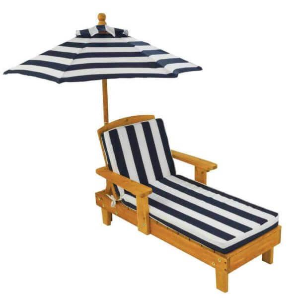 KidKraft Liegestuhl mit Sonnenschirm blau-weiß