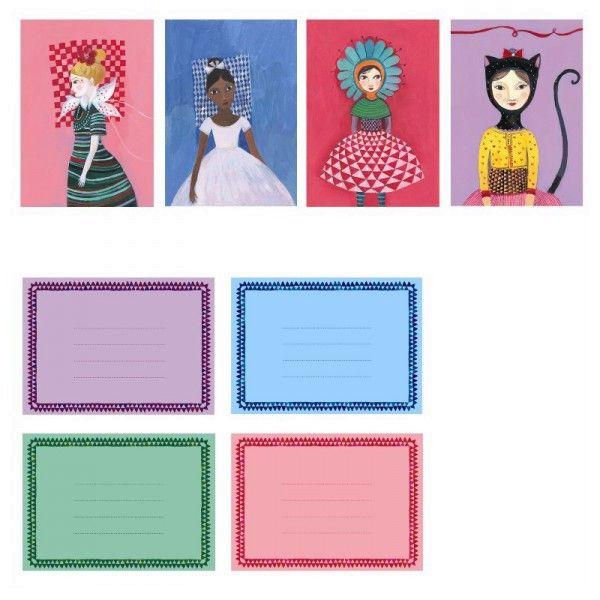Djeco 8 Mädchen Einladungskarten mit Umschlägen