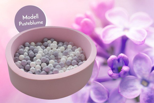 Meinbällebad rundes Bällebad Pusteblume Rosa mit 300 Bällen