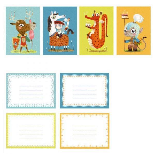 Djeco 8 Ritter Einladungskarten mit Umschlägen