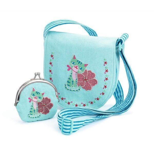 Djeco Tasche und Geldbeutel mit Kätzchen