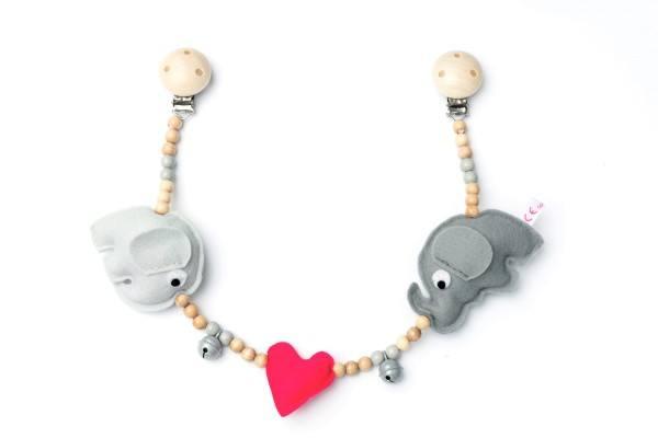 Deine Sommerliebe Kinderwagenkette Elefanten Pink