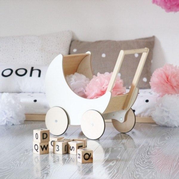 Ooh Noo Puppenwagen aus Holz weiss