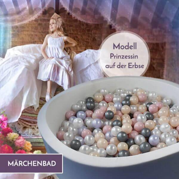 Meinbällebad rundes Bällebad Prinzessin auf der Erbse Hellgrau mit 300 Bällen
