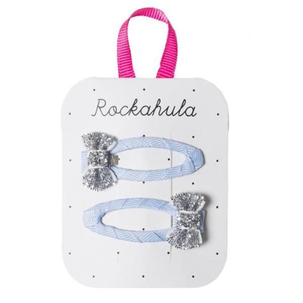 Rockahula Haarspange Mini Glitter Bow Hellblau Silber