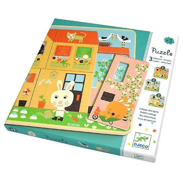Djeco 3 Schichten Puzzle Hasenhaus