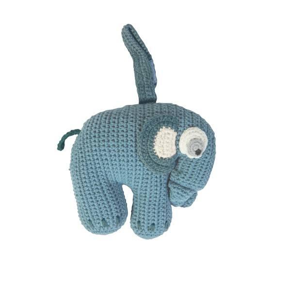 Sebra Häkel Spieluhr Elefant Blau