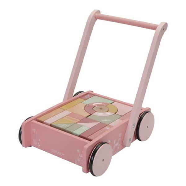 Little Dutch Holz Lauflerwagen mit Bauklötzen pink_LD7020