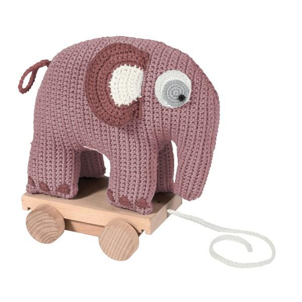 Sebra Häkel Elefant auf Rädern Rosa