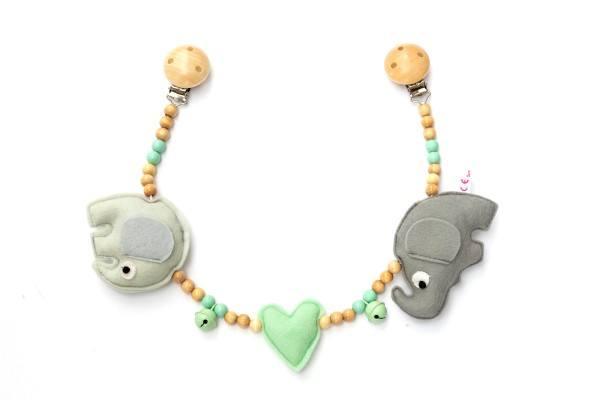 Deine Sommerliebe Kinderwagenkette Elefanten Mint