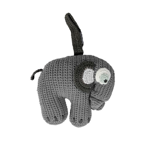 Sebra Häkel Spieluhr Elefant Grau