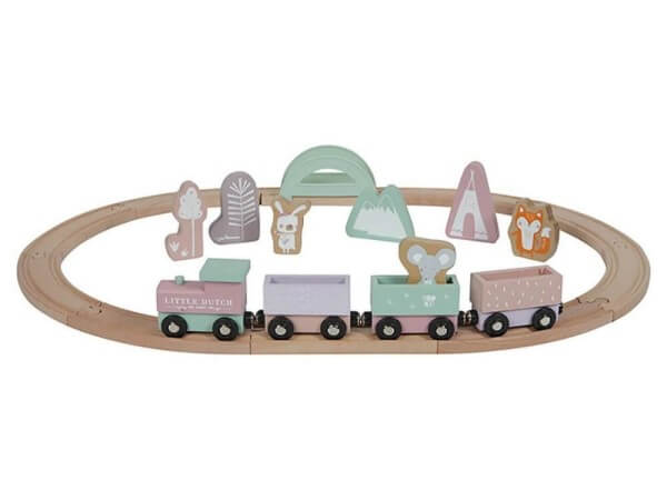 Little Dutch Eisenbahn mit Schienen Adventure Pink
