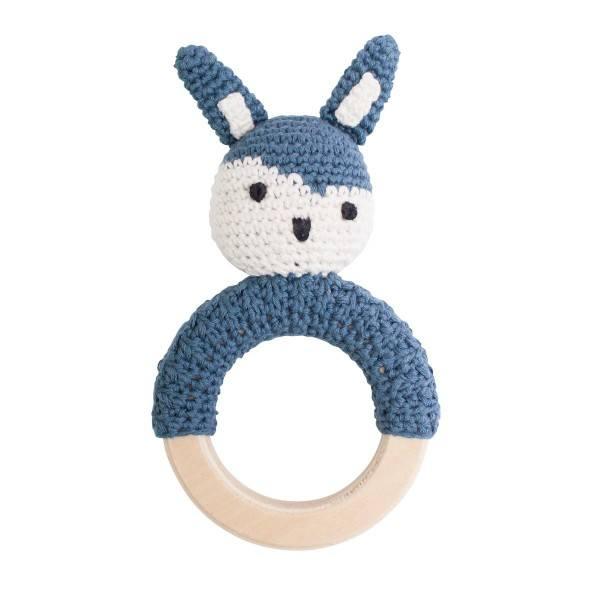 Sebra Häkel Rassel Kaninchen Königsblau auf Holzring