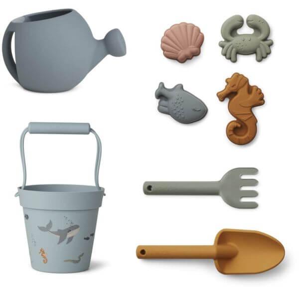 Liewood Garten- und Strandspielzeug Set Unterwasserwelt blau_LW13097-6966