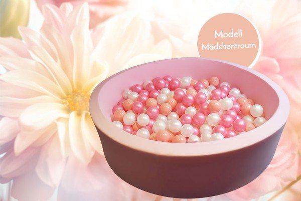 Meinbällebad rundes Bällebad Mädchentraum Rosa mit 300 Bällen