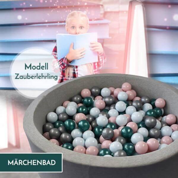 Meinbällebad rundes Bällebad Zauberlehrling Hellgrau mit 300 Bällen