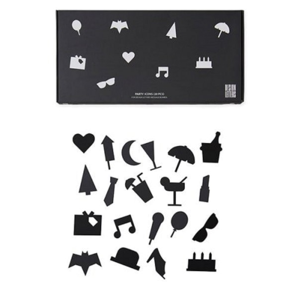 Design Letters Party-Symbole für Message Board Schwarz