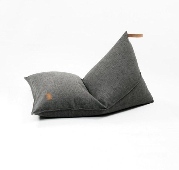 fayne Sitzkissen Pouf Dunkelgrau Melange 120x80 cm