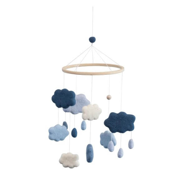Sebra Mobile Wolken aus Filz Königsblau