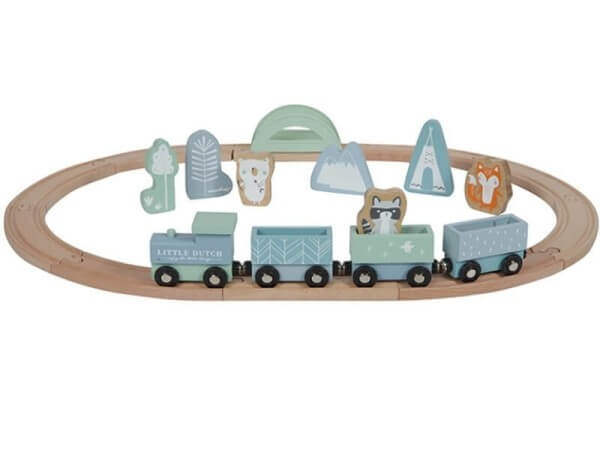Little Dutch Eisenbahn mit Schienen Adventure Blue