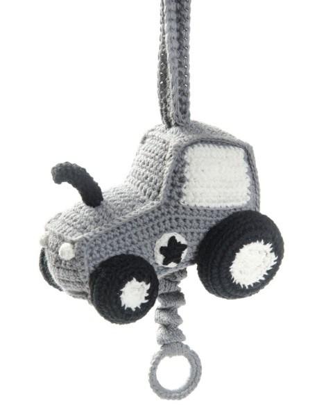 Smallstuff Spieluhr Mobile Traktor gehäkelt dunkelgrau