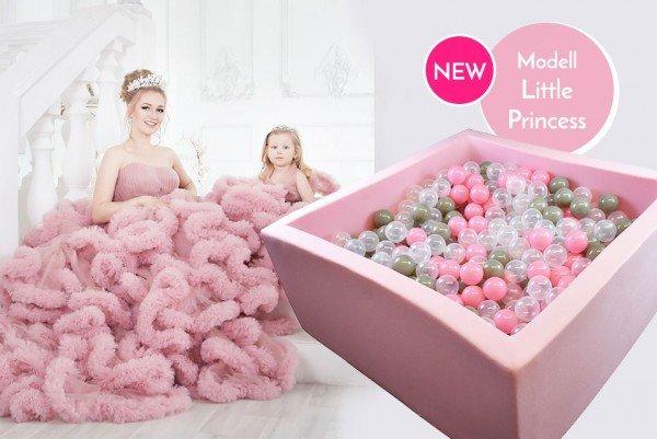Meinbällebad eckiges Bällebad Little Princess Rosa mit 300 Bällen