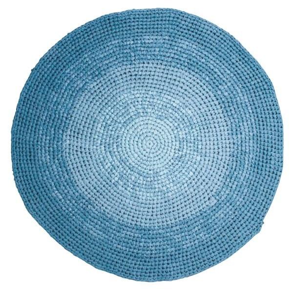 Sebra Häkelteppich Farbverlauf blau