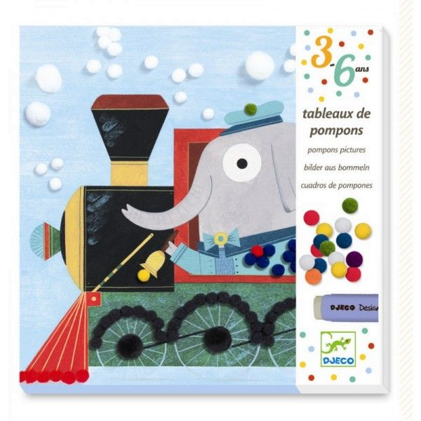 Djeco Kreativset Pom Pom Bommelbilder Tiere unterwegs