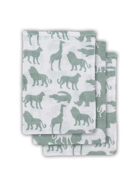 Jollein Waschlappen Safari Grün 3er-Set