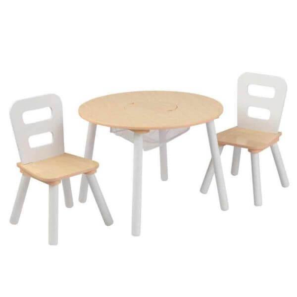 KidKraft Runder Tisch mit Aufbewahrungsfach und 2 Stühlen Natur/Weiß