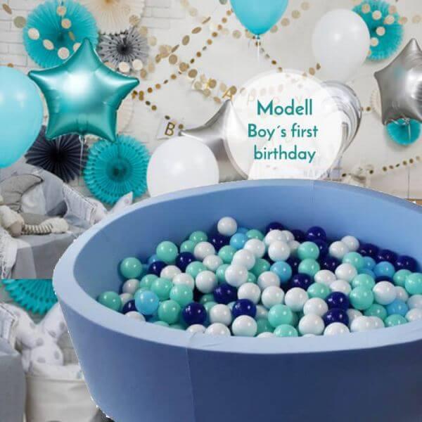 Meinbällebad rundes Bällebad First birthday boy Hellblau mit 300 Bällen