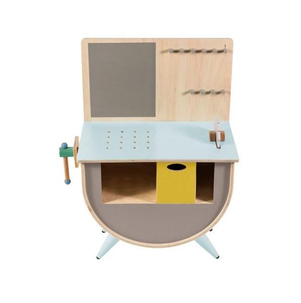 werkbank f r kinder warmes grau aus holz sebra. Black Bedroom Furniture Sets. Home Design Ideas
