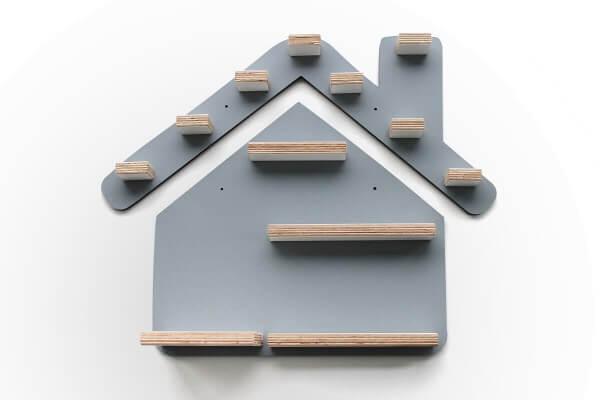 Kleine Schreiner Regal Haus für Tonie-Figuren Grau
