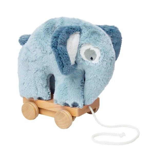 Sebra Plüsch Elefant auf Rädern wolkeblau