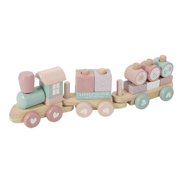 Little Dutch Holzzug / Holzeisenbahn mit Steckformen Adventure Pink
