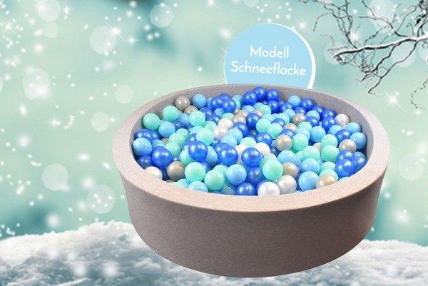 Meinbällebad rundes Bällebad Schneeflocke Grau mit 300 Bällen