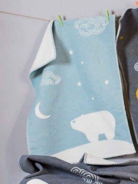 David Fussenegger Babydecke FINN Eisbär blau 65x90 cm